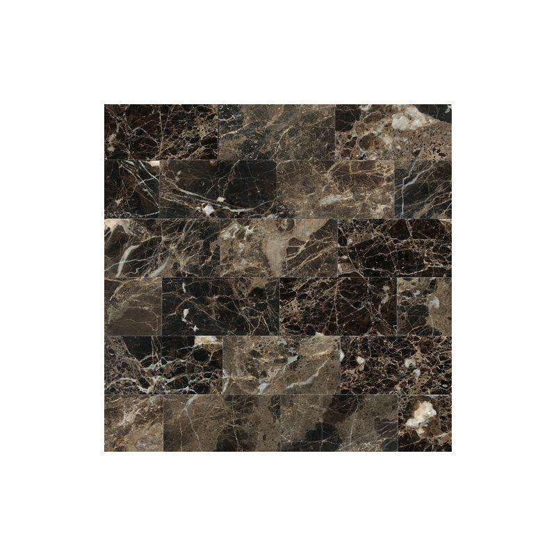 "Daltile M725-361U Marble Emperador Dark 6"" x 3"" Honed Stone Multi-Surface Tile"