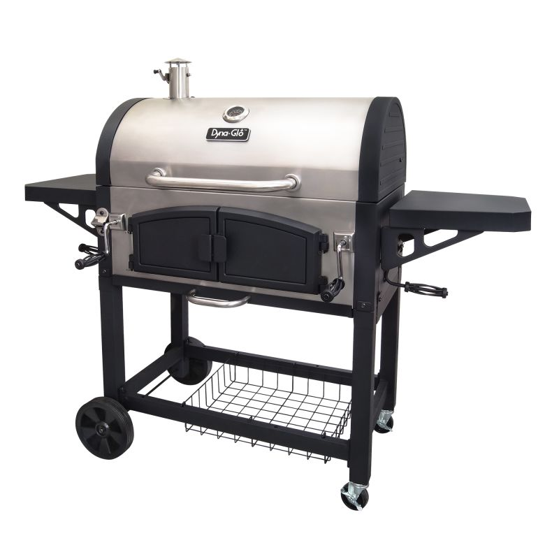 Dyna-Glo DGN576SNC-D Dual Chamber Charcoal BBQ Grill with Adjustable Charcoal Tr photo