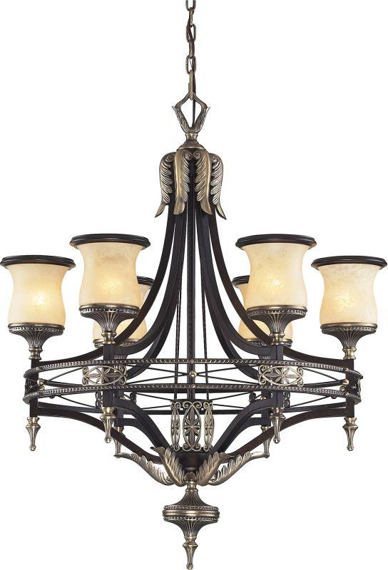 Antique Brass Dark Umber 2 Tier 6 Light Up Lighting