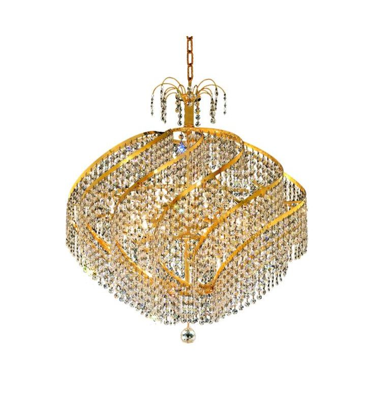 UPC 842814129887 product image for Elegant Lighting 8052D26G Spiral 15-Light, Single-Tier Crystal Chandelier, Finis | upcitemdb.com