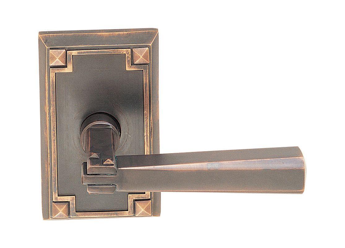 Emtek door hardware stretto narrow sideplate locksets for Arts and crafts exterior door hardware