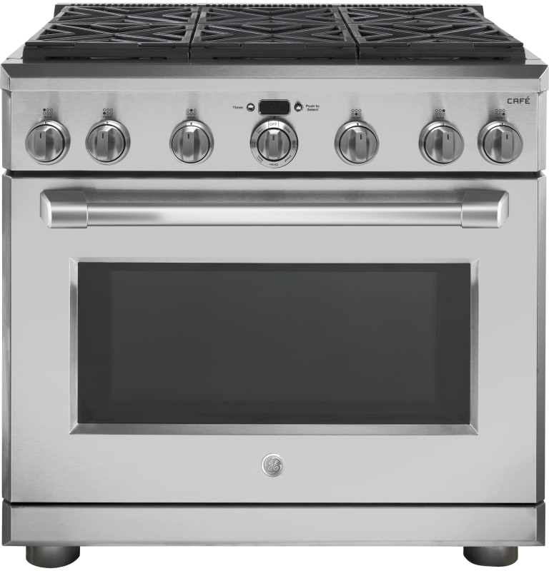 GE C2Y366SL 36 Inch Wide 5.8 Cu. Ft. Free Standing Dual Fuel Range with Self Cle photo