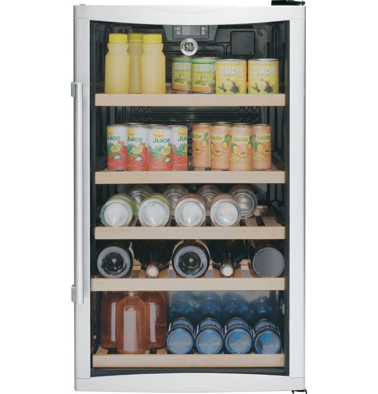 GE GVS04BDW 19 Inch Wide 4.1 Cubic Foot Beverage Center with Adjustable Wooden R photo