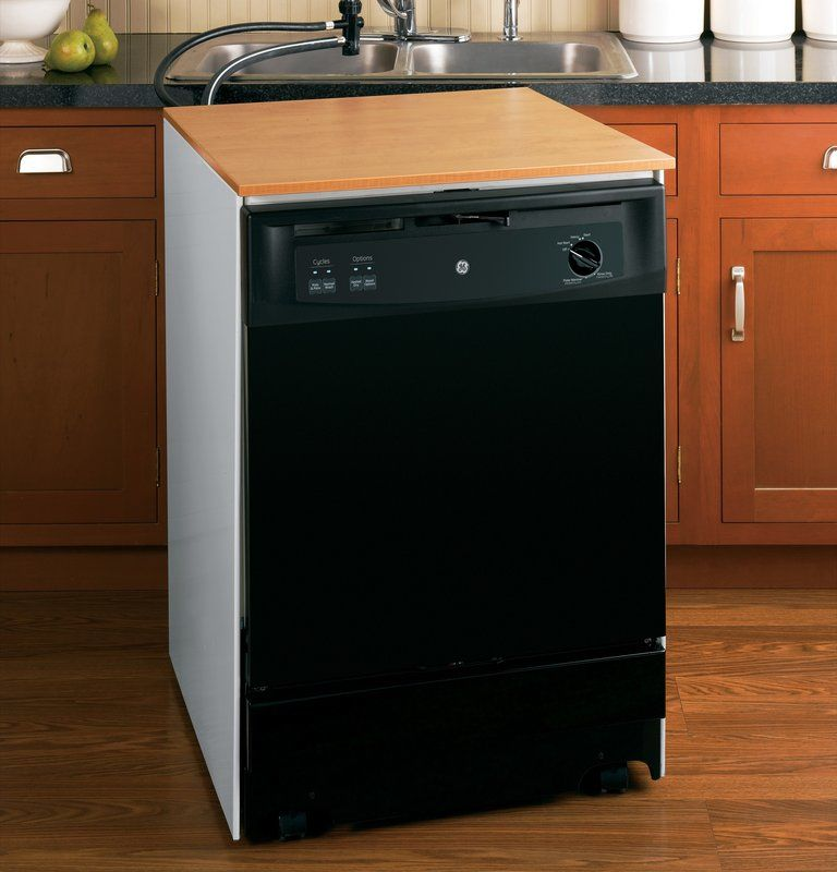 GE GSC3500D Portable Energy Star Dishwasher with Woodgrain Laminate Top and Food photo