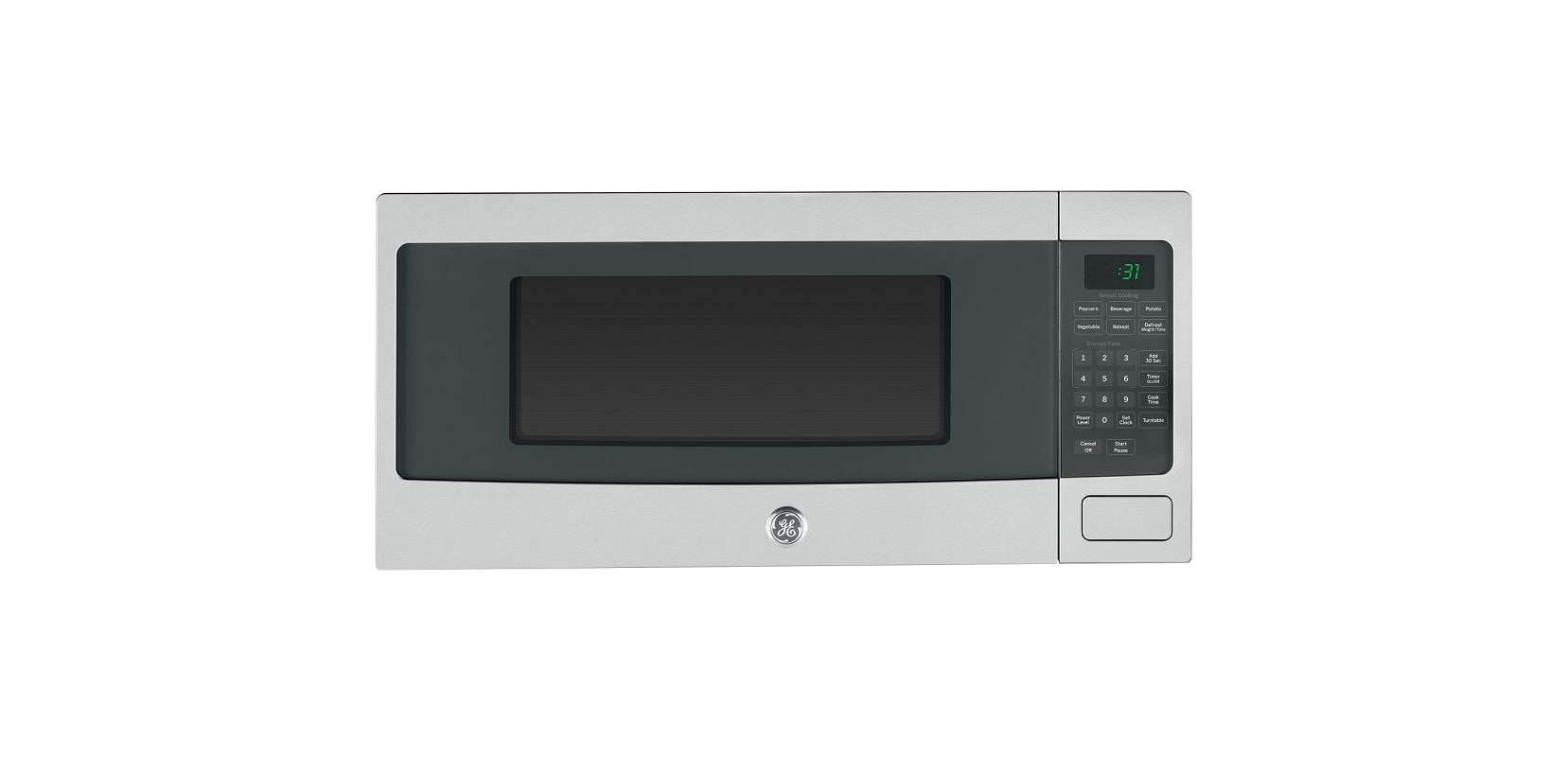 GE PEM31F Profile 24 Inch Wide 1.1 Cu. Ft. Countertop Microwave with Built-In Ca photo