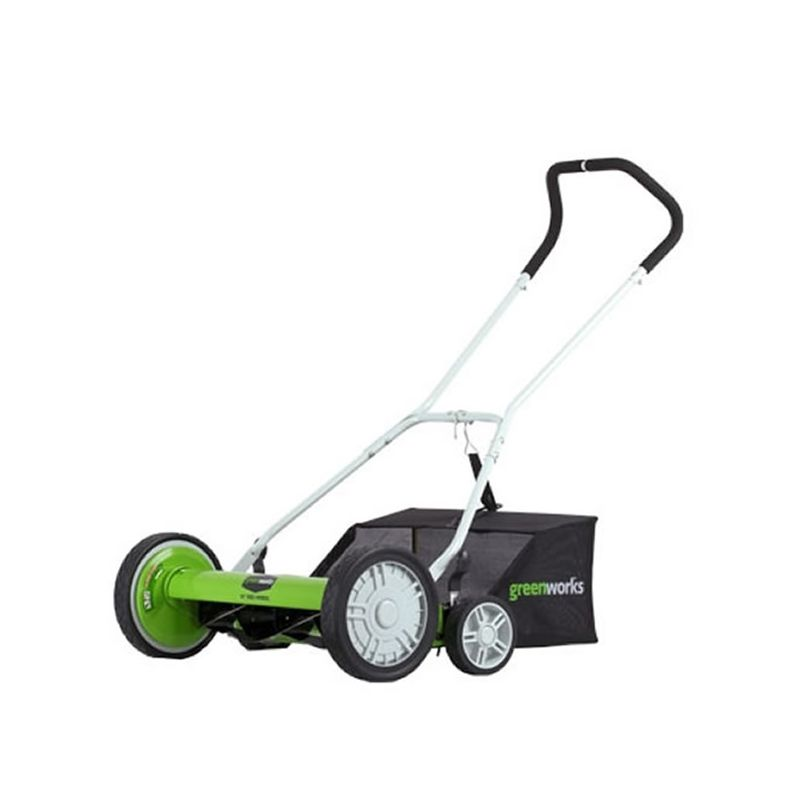 GreenWorks 25072 2-in-1 Reel Lawn Mower with 20 Cutting Width and Grass Catcher