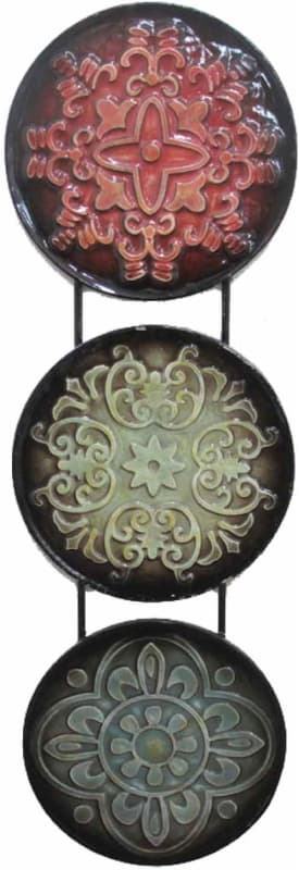 Home Source 400-21920 36 Inch x 12 Inch Hanging Decorative Plates Metal Wall Scu