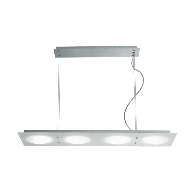 Jesco Lighting PD617-4R Lumidisque Series 617 4-Light Rectangular Adjustable Pendant, Satin Aluminum
