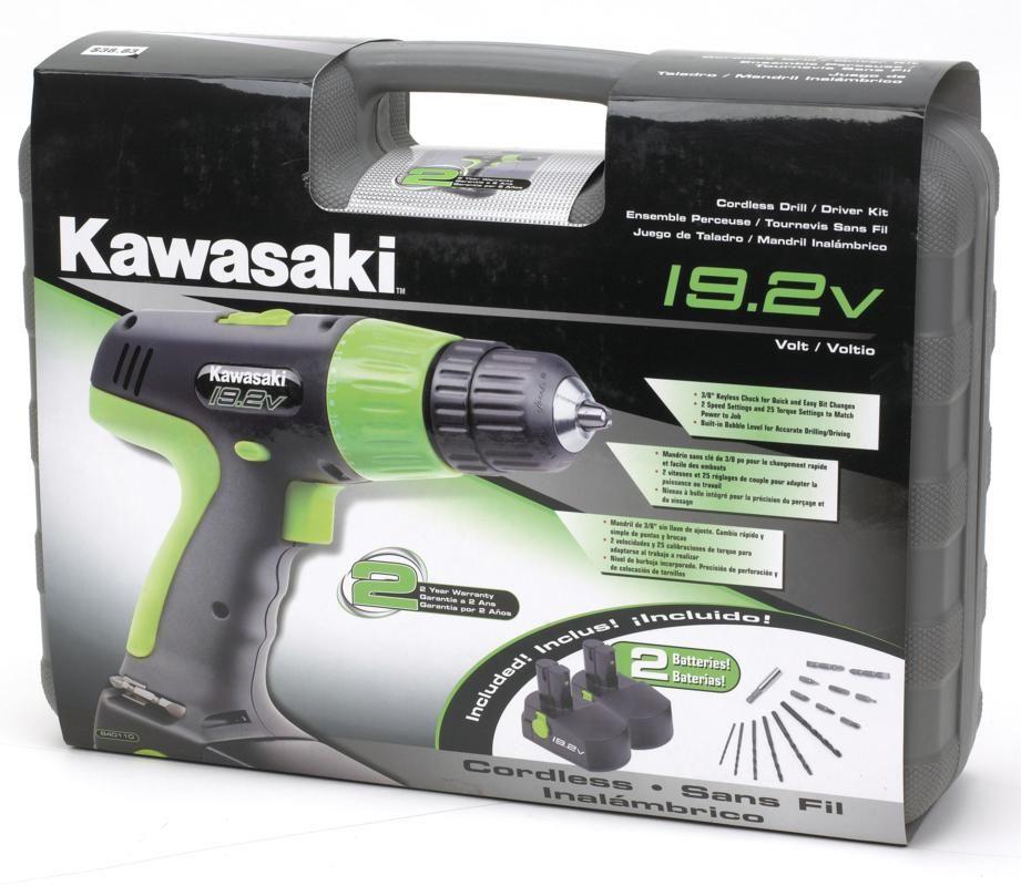 Kawasaki 840110 19.2V Cordless Drill Kit with 2 Batteries ~ Cordless