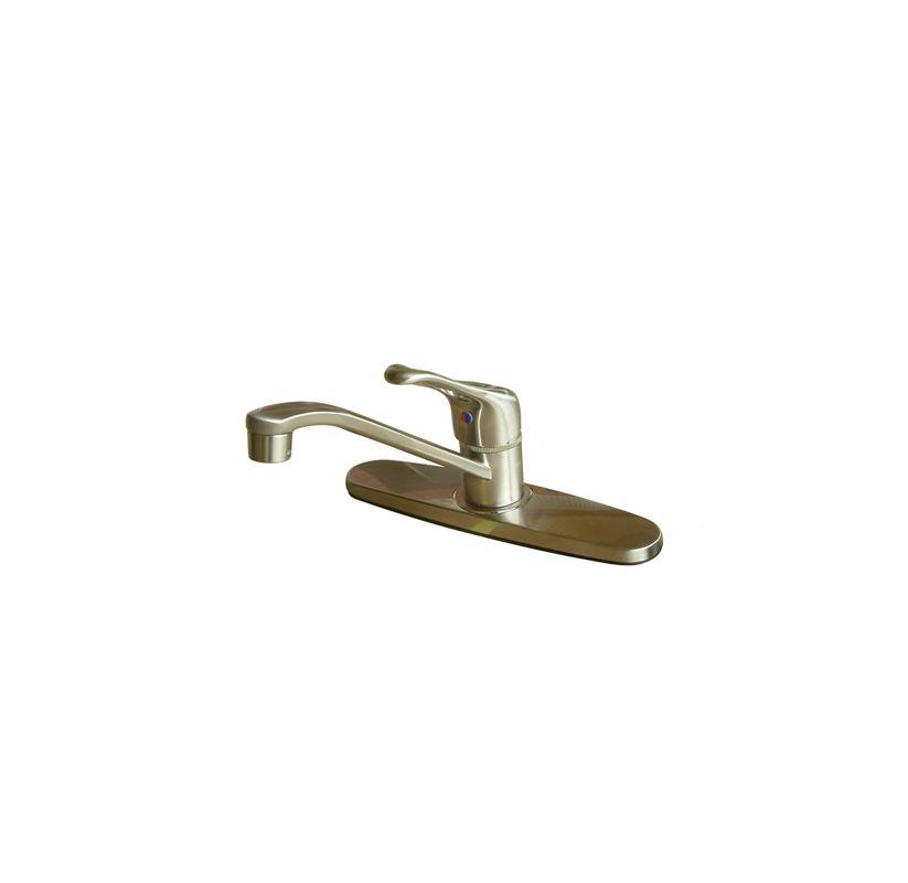 UPC 663370050299 product image for Kingston Brass Restoration Single Handle Kitchen Faucet Satin Nickel | upcitemdb.com