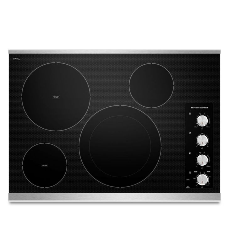KitchenAid KECC604B 30 Inch Wide Electric Cooktop with Double-Ring Round Element photo