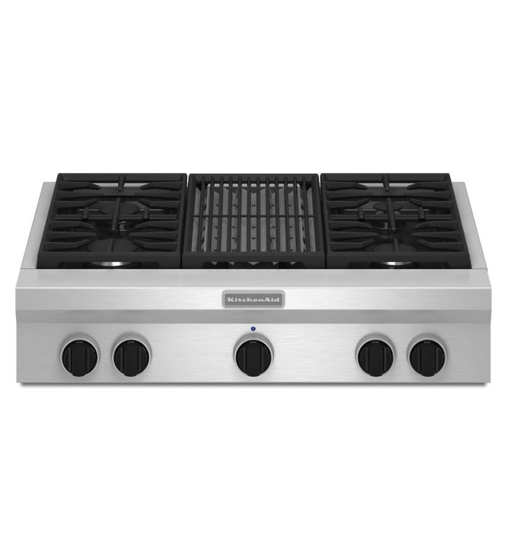 KitchenAid KGCU462V 36 Inch Wide Commercial Style Gas Cooktop with Even-Heat Gri photo