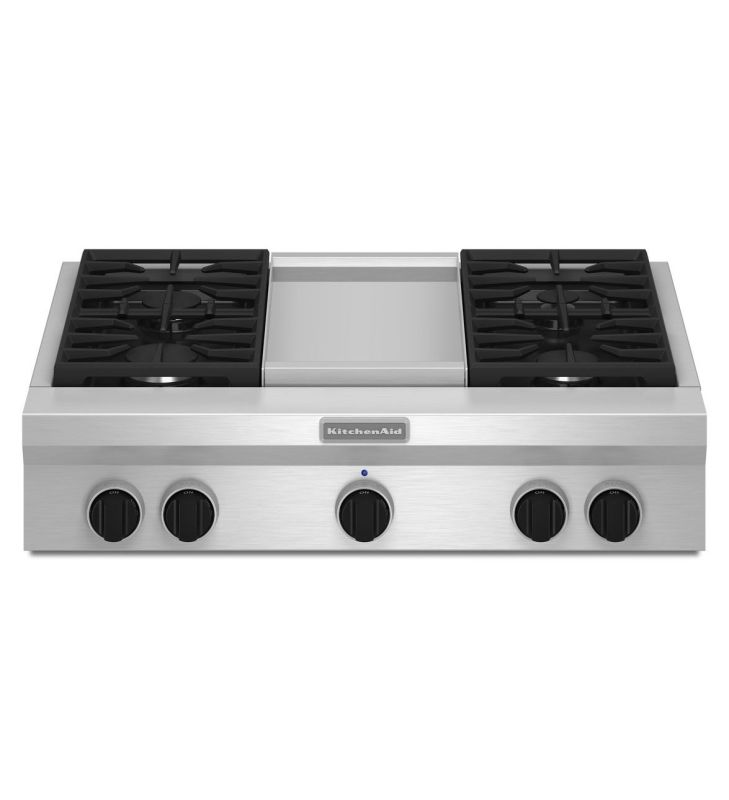 KitchenAid KGCU463V 36 Inch Wide Commercial Style Gas Rangetop with Even-Heat Ch photo