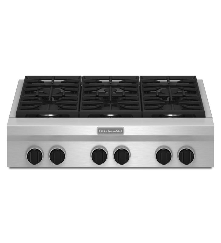 KitchenAid KGCU467V 36 Inch Wide Commercial Style Gas Rangetop with Two 20K BTU photo