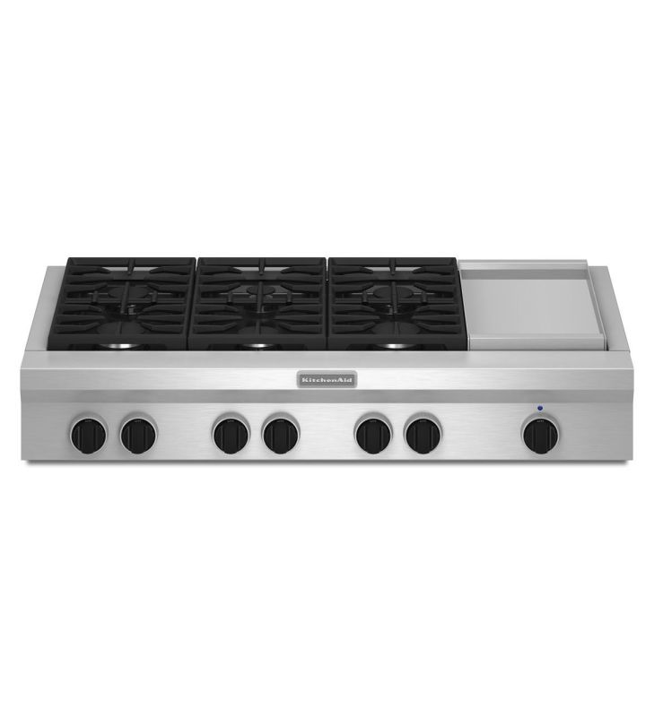 KitchenAid KGCU483V 48 Inch Wide Commercial Style Gas Cooktop with Even-Heat Chr photo