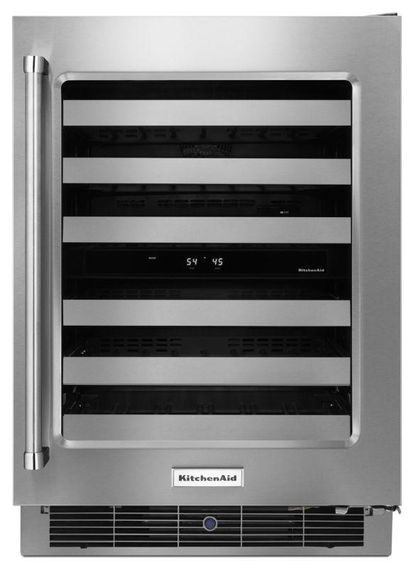 KitchenAid KUWR304E 24 Inch Wide 48 Bottle Capacity Wine Refrigerator with Metal photo