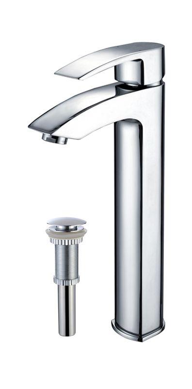 Kraus FVS-1810-PU-10 Visio Single Hole Vessel Bathroom Faucet - Metal Pop-Up Dra Deal