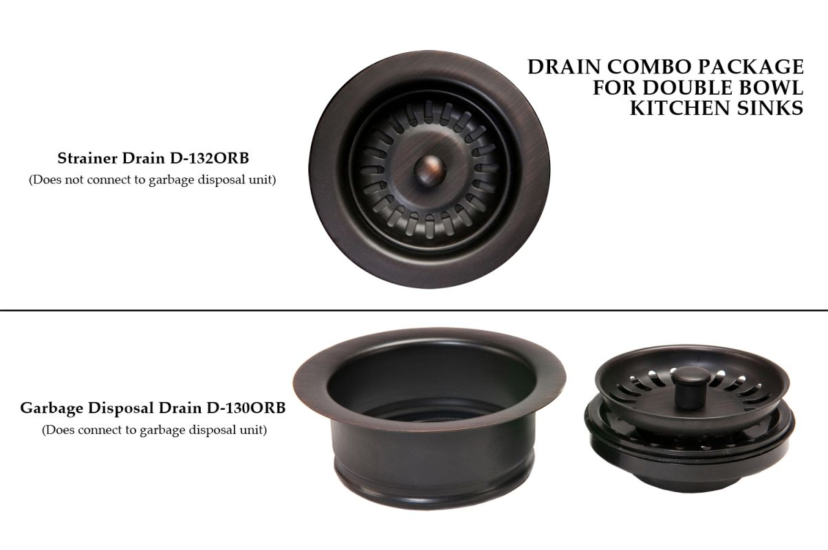 Premier Copper Products DC-1ORB Drain Combination Package for Double Bowl Kitche photo