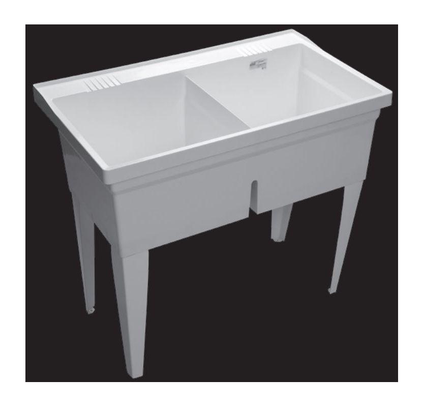 Laundry Double Sink : Proflo PFLT4024 White 40 40