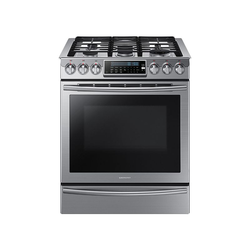 Samsung NX58H9500WS 30 Inch Wide 5.8 Cu. Ft. Slide-In Gas Range with 57,000 Tota photo