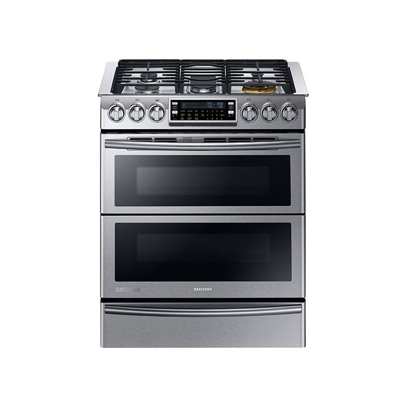 Samsung NY58J9850W 30 Inch Wide 5.8 Cu. Ft. Slide-In Dual Fuel Range with Self-C photo