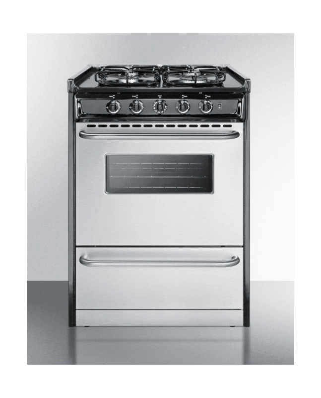 Summit TTM61027BRSW 24 Inch Wide 2.9 Cu. Ft. Slide In Natural Gas Range with Sea photo