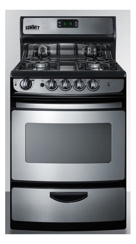 Summit PRO246 24 Inch Wide 3.0 CU. Ft. Free Standing Gas Range with Drop-down Br photo