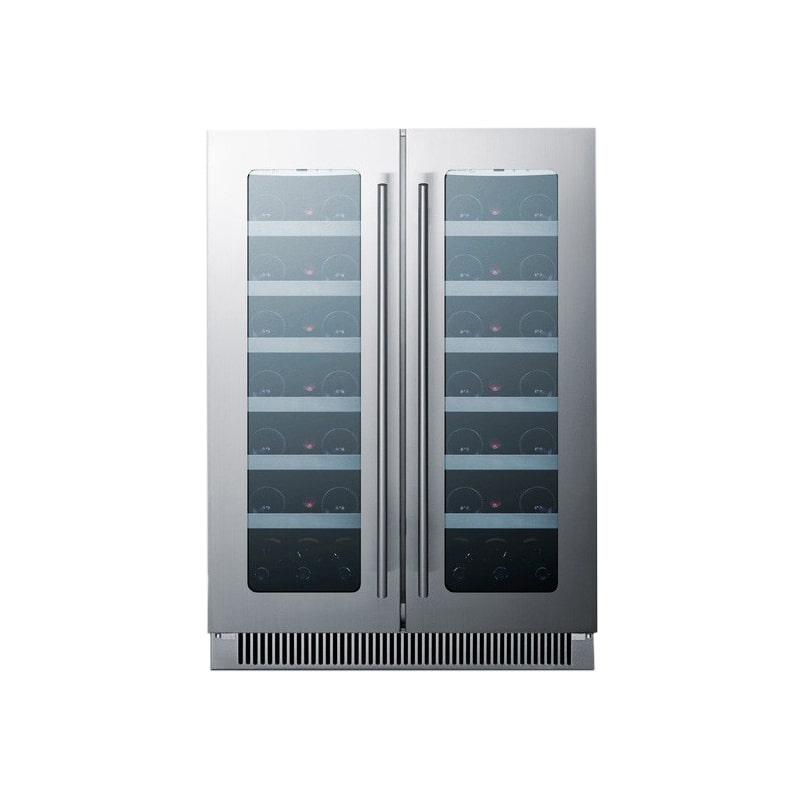 Summit CLFD24C 42 Bottle 24' Built-In Seamless Cabinet French Door Dual Zone Win photo