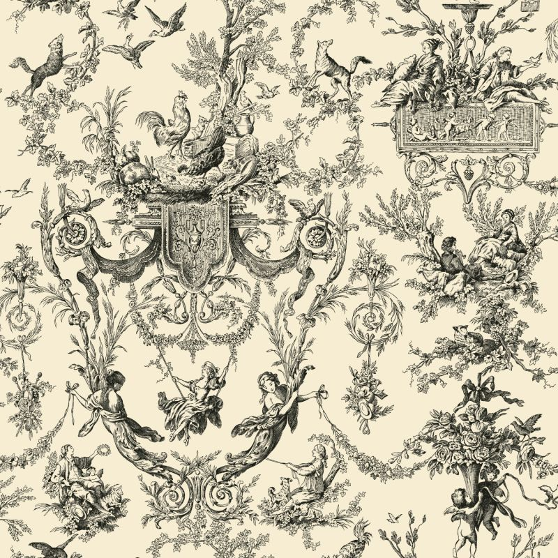 York Wallcoverings AB2139 Black and White Old World Toile Wallpaper