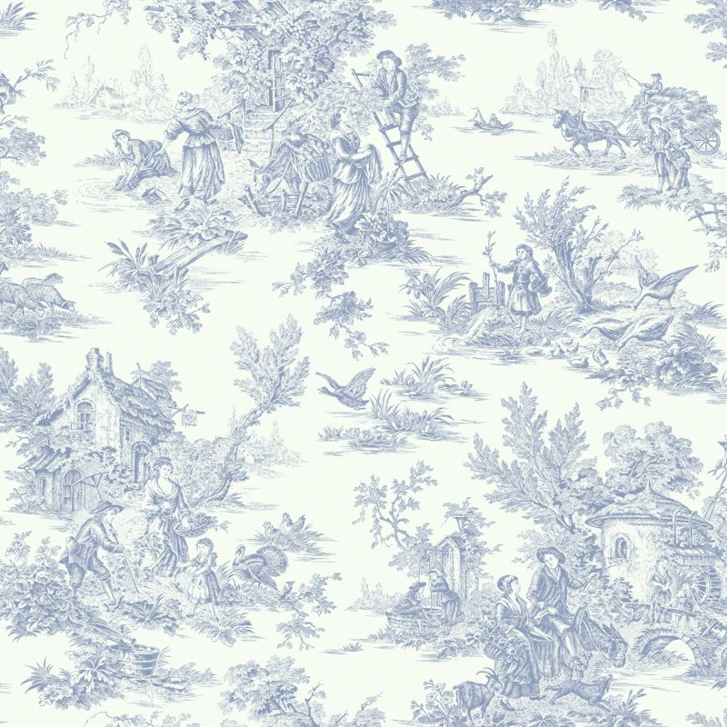 York Wallcoverings AT4229 Blue Book Campagne Toile Wallpaper