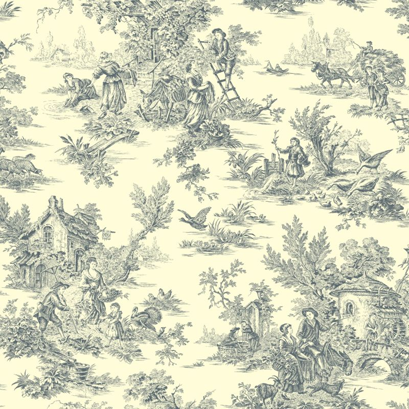 York Wallcoverings AT4232 Blue Book Campagne Toile Wallpaper