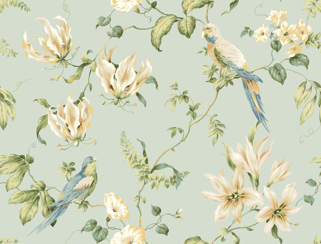 York wallcoverings jg0752 blue book tropical floral wallpaper for Floral wallpaper for home