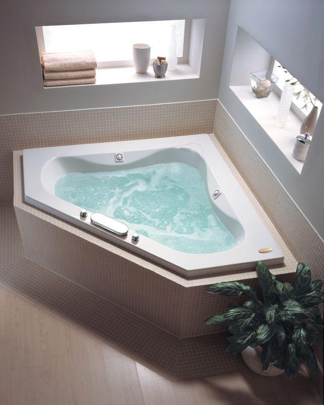 """Jacuzzi ESP6060 WCR 1HX 60"""" x 60"""" Espree Corner Whirlpool Bathtub with ..."""