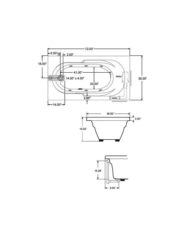 Jacuzzi j2d7236 wrl 1xx whirlpool bathtub Standard width of bathtub