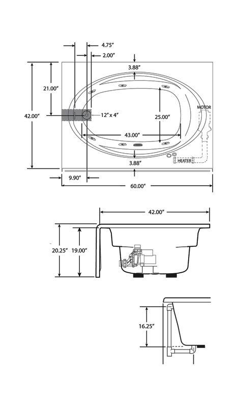 Jacuzzi J4s6042 Wlr 1hx Whirlpool Bathtub