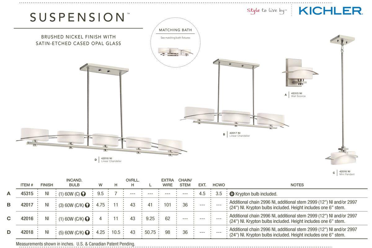 Kichler 45629pn Stelata Contemporary Polished Nickel 3: Kichler 42017 Suspension Chandelier