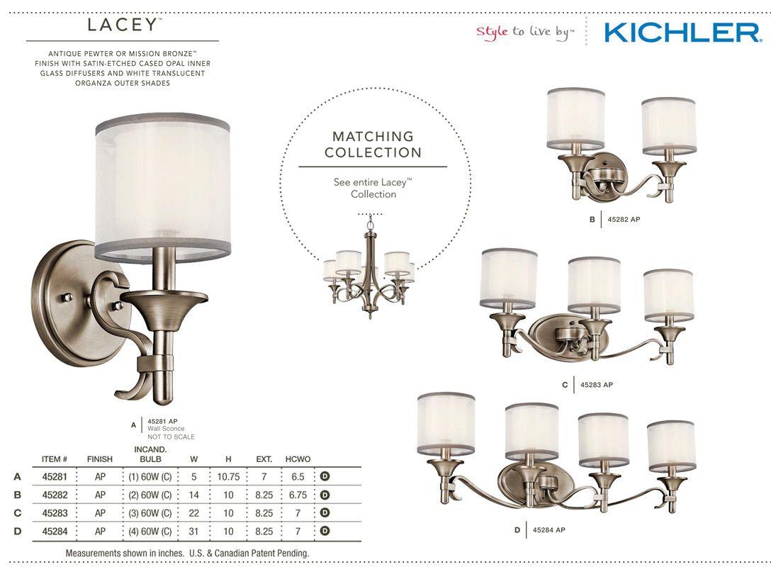 Kichler Lacey Antique Pewter Four Light Bath Fixture: Kichler 45283 Lacey Bathroom Light