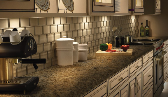 beige kitchen with under cabinet lighting