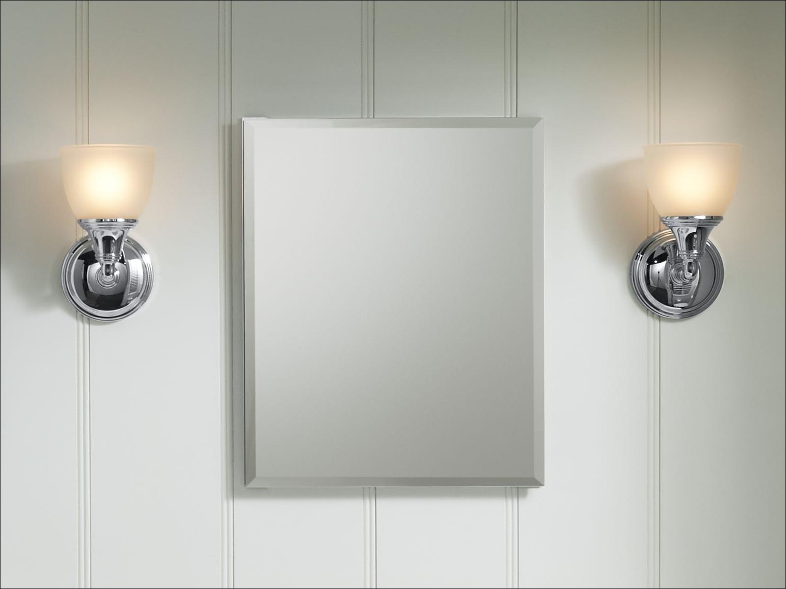 """16"""" X 20"""" Silver Aluminum Recessed Mirror Medicine Cabinet"""