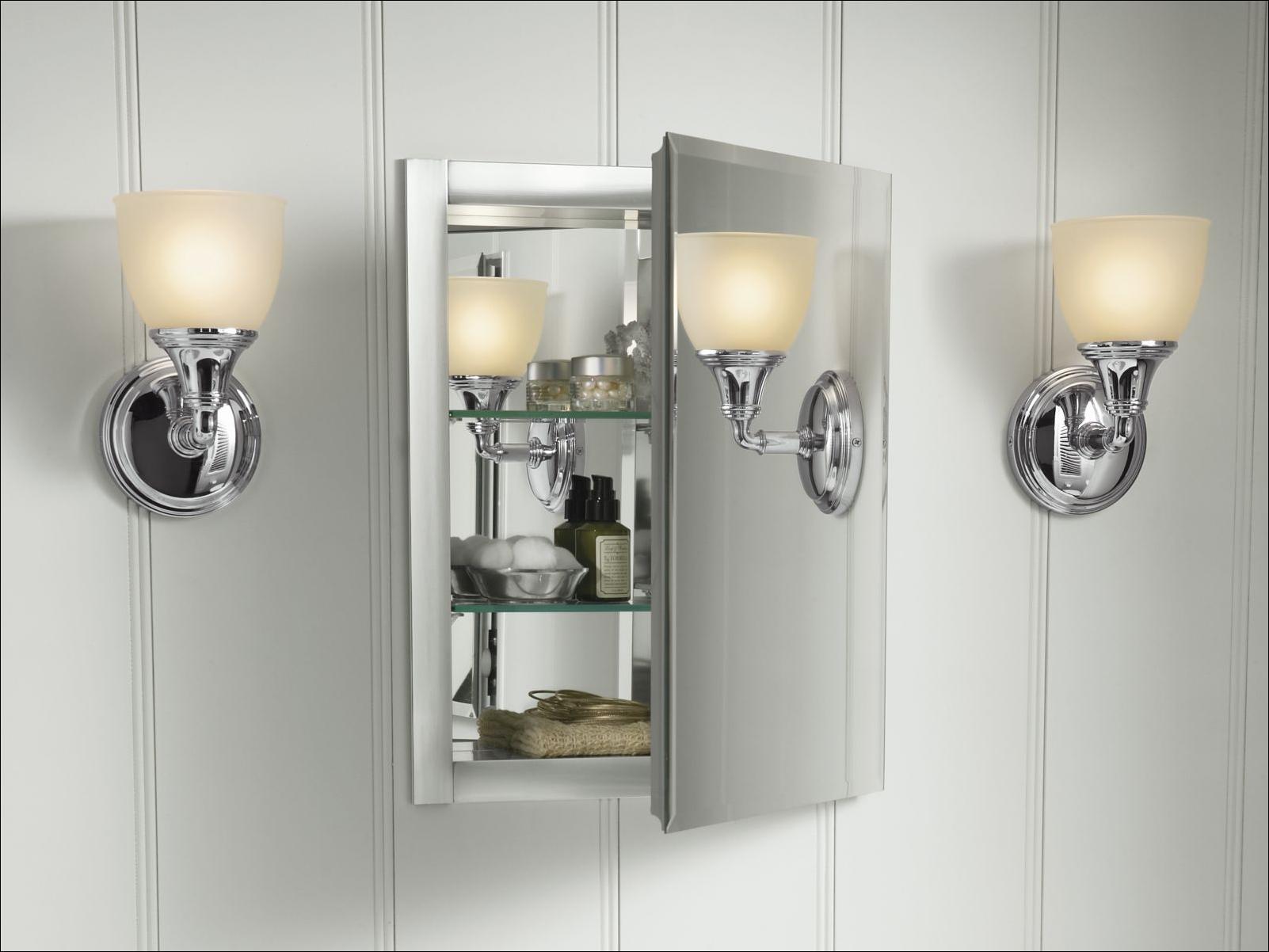 16 Quot X 20 Quot Silver Aluminum Recessed Mirror Medicine Cabinet