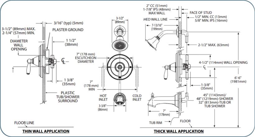 Moen T2153 Chrome Posi Temp Pressure Balanced Tub And