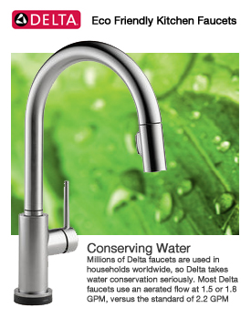 Delta kitchen faucets for Eco friendly faucets
