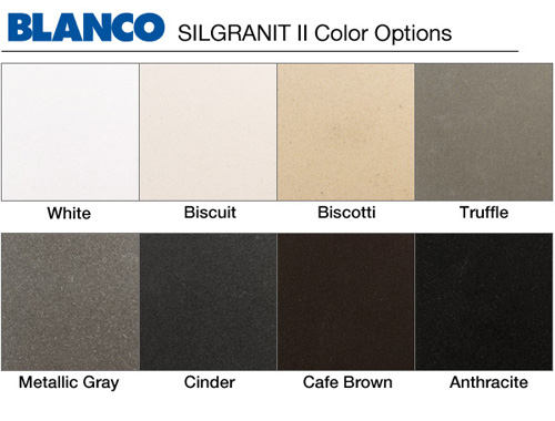 Blanco Sink Colors : Blanco Silgranit II Finishes