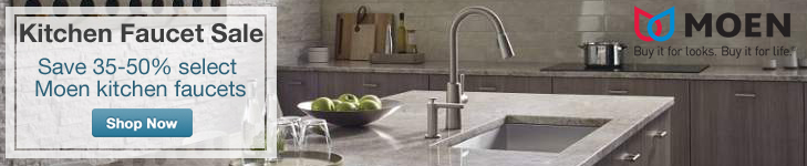 Save up to 50% on select Moen kitchen faucets.